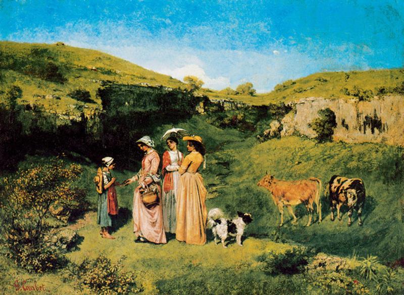 画中向放牧女施舍的三位姑娘是库尔贝的三个姐妹。 库尔贝在画中描绘了自然的美妙与乡村生活的恬静,整幅画面洋溢着浓厚的乡土气息。 画家恪守明暗写实法则,以近景、中景、远景构成整幅画面的空间,人物和动物的刻画都非常生动洒脱,写实而生动。在色调处理上画家十分注重光与色的关系,使乡村的景色显得格外宜人。