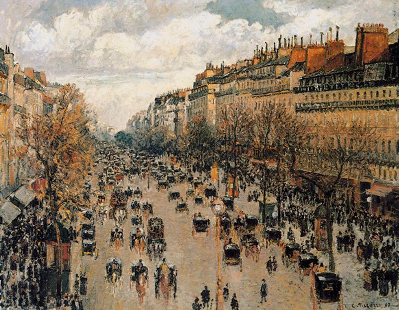 在这幅画上,构图宏伟,街景庄严而有气派;色彩丰富柔和,在冷暖色对比